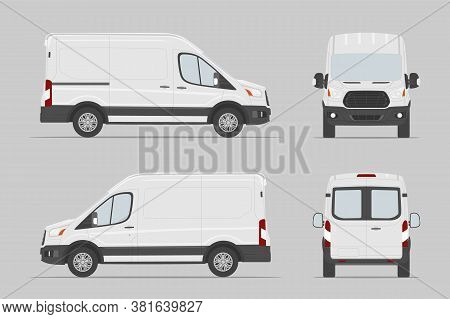 Commercial Vehicle Different View. Cargo Van Template. Vector Illustration