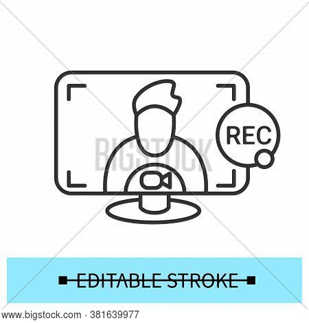 Recording Video Call Icon. Video Conference, Interview, Webinar Or Courses Recording. Outline Comput