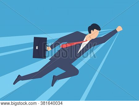 A Man In A Business Suit Superman, Superhero. Vector Illustration
