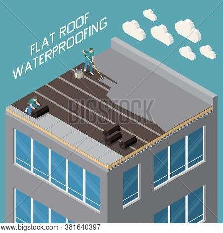 Flat Roof Waterproofing With Polymer Bitumen Mastic And Ruberoid Gradient Insulation Closeup Isometr