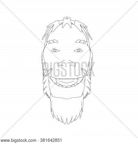 Contour Head Of A Neanderthal. Contour Head Of A Prehistoric Man. Front View. Vector Illustration