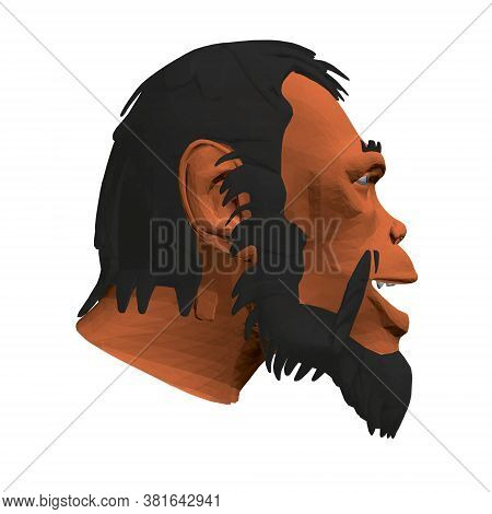 Low Poly Head Of A Neanderthal Man. Polygonal Head Of A Prehistoric Man. Side View. 3d. Vector Illus