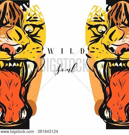 Hand Drawn Vector Abstract Graphic Drawing Of Anger Tigers Faces In Orange Colors Isolated On White