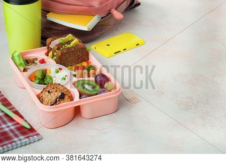 Lunch Box With Healthy Lunch On The Table With Copy Space