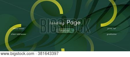 Camouflage Landing Page Design. Abstract Fluid Lines Pattern. Curve Digital Background. Army Geometr