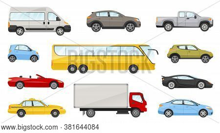 Large Set Of Assorted Cars And Vehicles With Cab, Saloon, Truck, Bus, Sports Car, Cabriolet And Van
