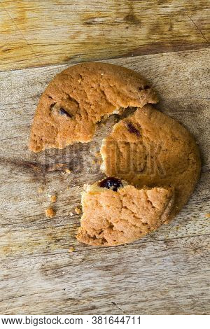 Broken Into Pieces A Delicious And Crunchy Oatmeal Cookie Made From Flour And Oatmeal