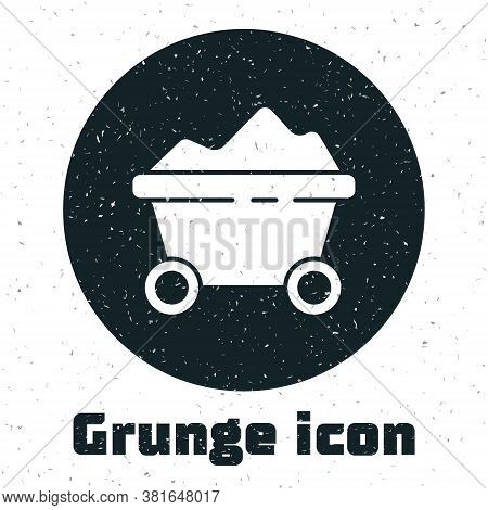 Grunge Coal Mine Trolley Icon Isolated On White Background. Factory Coal Mine Trolley. Monochrome Vi