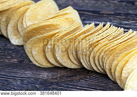 Real Potato Chips, Close Up Of Yellow Golden Chips, High-calorie Food, Real And Crispy Chips
