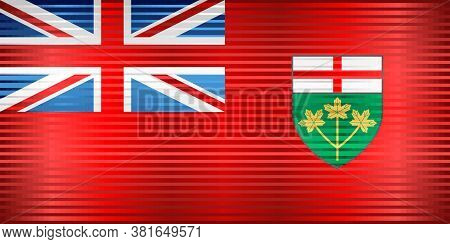 Shiny Flag Of Ontario - Illustration,  Three Dimensional Flag Of Ontario