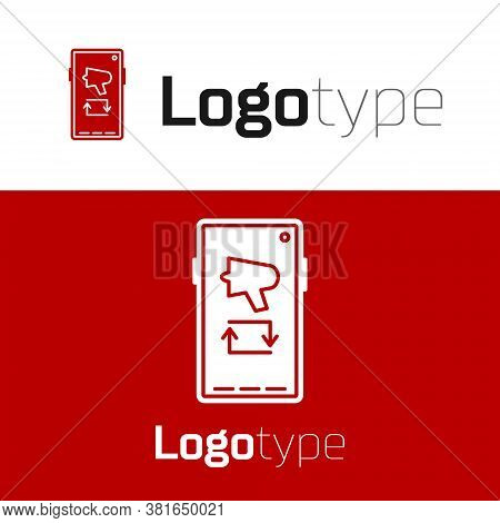 Red Spread The Word, Megaphone On Mobile Phone Icon Isolated On White Background. Logo Design Templa