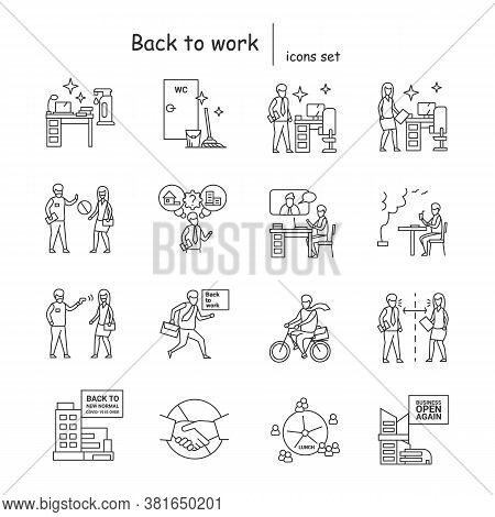Back To Work Icons Set Quarantine And Lockdown End, Office Covid Pandemic Prevention Linear Pictogra