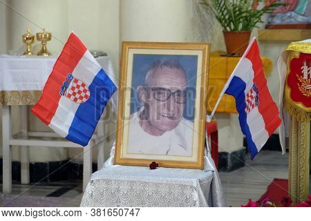 KUMROKHALI, INDIA - FEBRUARY 23, 2020: Photo of father Ante Gabric, Croatian missionaries exposed on the altar during the celebration of its 105 birthday,Our Lady of Lourdes Church in Kumrokhali,India