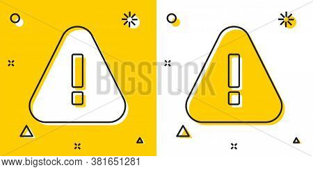 Black Exclamation Mark In Triangle Icon Isolated On Yellow And White Background. Hazard Warning Sign