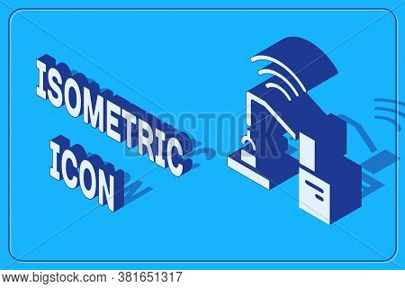 Isometric Industrial Machine Robotic Robot Arm Hand Factory Icon Isolated On Blue Background. Indust