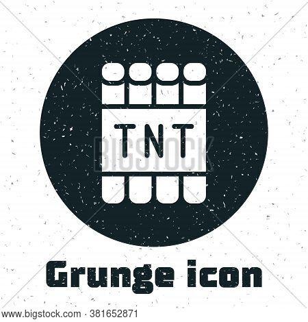Grunge Detonate Dynamite Bomb Stick And Timer Clock Icon Isolated On White Background. Time Bomb - E