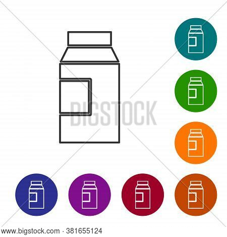 Black Line Paper Package For Milk Icon Isolated On White Background. Milk Packet Sign. Set Icons In