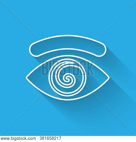 White Line Hypnosis Icon Isolated With Long Shadow. Human Eye With Spiral Hypnotic Iris. Vector