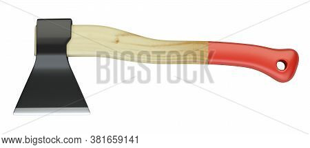 Axe With Wooden Hilt Isolated On White Background - Top View. 3d Illustration Isolated On A White Ba