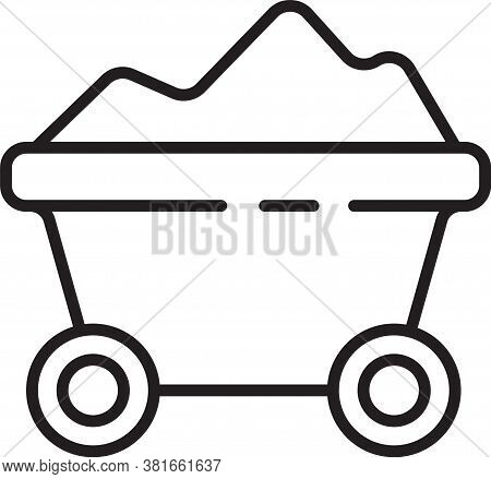 Black Line Coal Mine Trolley Icon Isolated On White Background. Factory Coal Mine Trolley. Vector Il