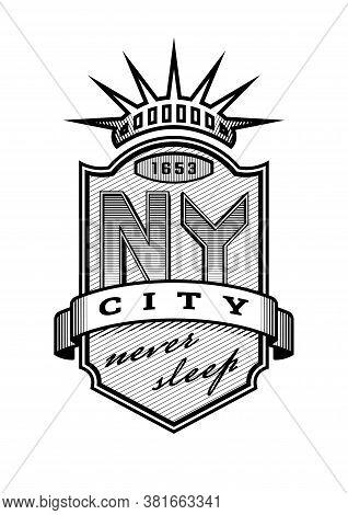New York City Emblem, Vintage Style. Vector Illustration.