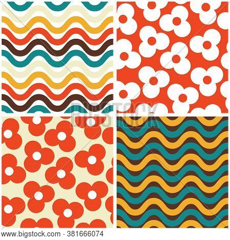 Vector Seamless Mid-century Modern Pattern Set- 60s And 70s Style, Geometric Retro Design With Flowe