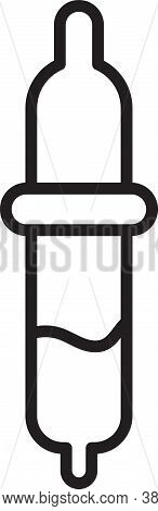 Black Line Pipette Icon Isolated On White Background. Element Of Medical, Chemistry Lab Equipment. P