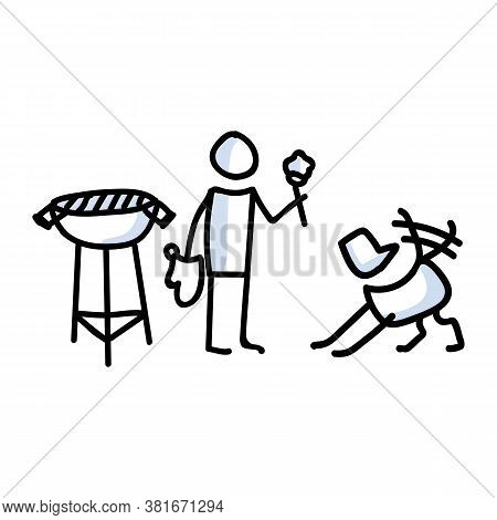 Hand Drawn Stickman Cookout With Dog Bbq Concept. Simple Outdoor Vacation Doodle Icon For Staycation