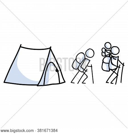 Hand Drawn Stickman Camping Family Concept. Simple Outdoor Vacation Doodle Icon For Staycation, Fami