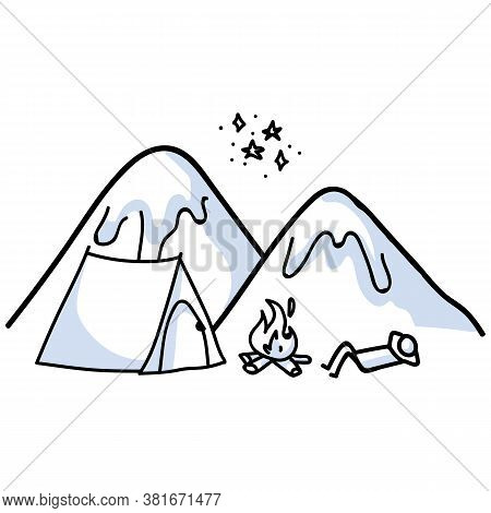 Hand Drawn Stickman Camping And Stargazing With Tent Concept. Simple Outdoor Vacation Doodle Icon Fo