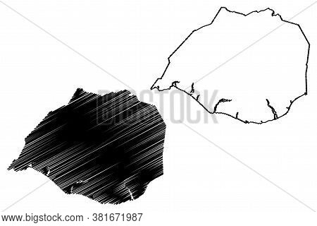Southern Region (iceland Island, Regions Of Iceland) Map Vector Illustration, Scribble Sketch Suourl