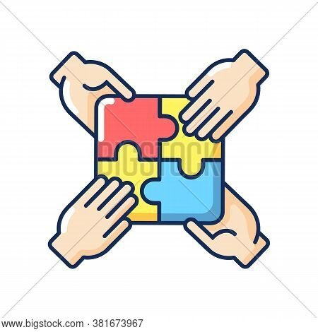 Teamwork Building Rgb Color Icon. Teamwork Skills Development, Togetherness. Team Building Exercise,