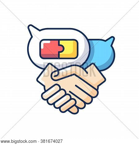 Negotiation Skills Rgb Color Icon. Business Partnership, Professional Relationship. Deal Discussion,