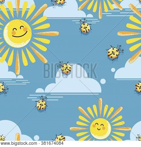 Funny Suns. Pattern. Vector Baby Background. Sun, Cloud And Yellow Ladybugs On Blue Sky Background.