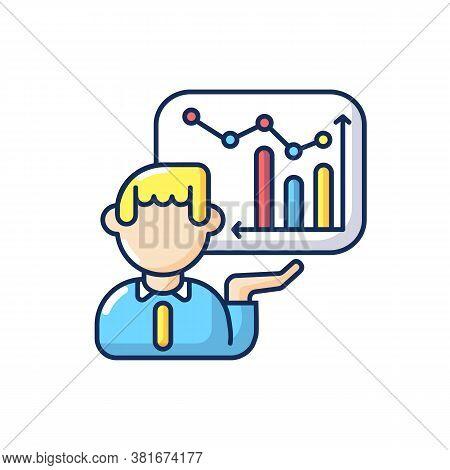 Presentation Skills Rgb Color Icon. Business Analytics, Financial Report, Project Development. Profe