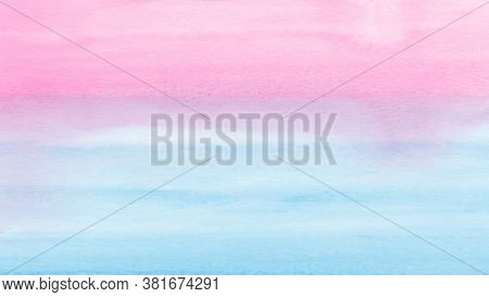 Bright Blue And Pink Gradient Abstract Design With Watercolor Hand-painted For Background. Stain Art
