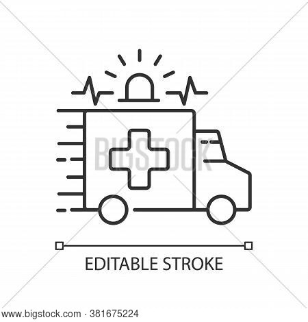 Emergency Linear Icon. Ambulance. Emergency Response. Accident Department. Medical Vehicle. Thin Lin