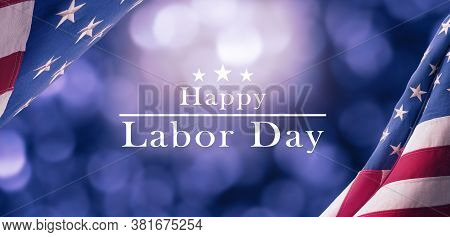 American National Holiday. Us Flags With American Stars, Stripes And National Colors. Happy Labor Da