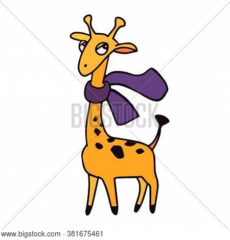 Animals Of Zoo. Giraffe With Scarf In Cartoon Style. Isolated Cute Character On White. Vector Illust