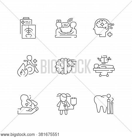 Healthcare Services Linear Icons Set. Maternity And Psychiatric Ward. Burn Center. Ct Scan. Counseli