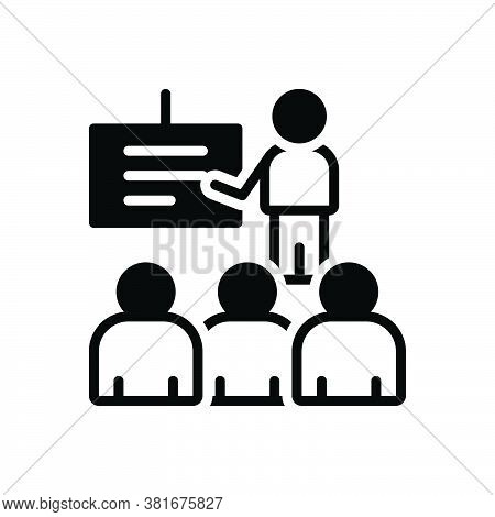 Black Solid Icon For Presentation Display Demonstration Show Exhibit Signalize  Audience Viewer Spec