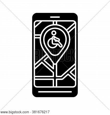 City Navigation App Black Glyph Icon. City Map App For Wheelchair Users. Navigation In Public Places