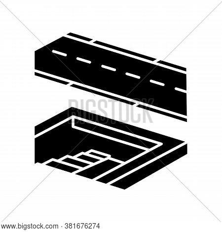 Underground Pedestrian Walkway Black Glyph Icon. Safe Pedestrian Crosswalk. Underground Tunnels. Mod