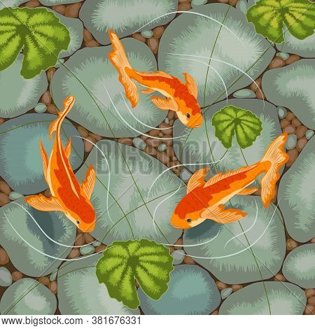 Color Illustration With Goldfish In A Pond.goldfish On A Background Of Stones.