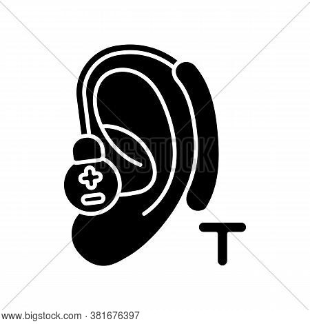 Hearing Loop Black Glyph Icon. Assistive Listening Technology. Audio Induction Loop System. Hearing