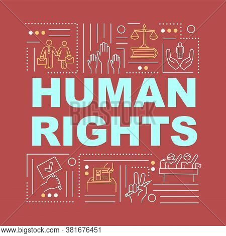 Human Rights Word Concepts Banner. Fundamental Freedoms. Democracy. International Law. Infographics