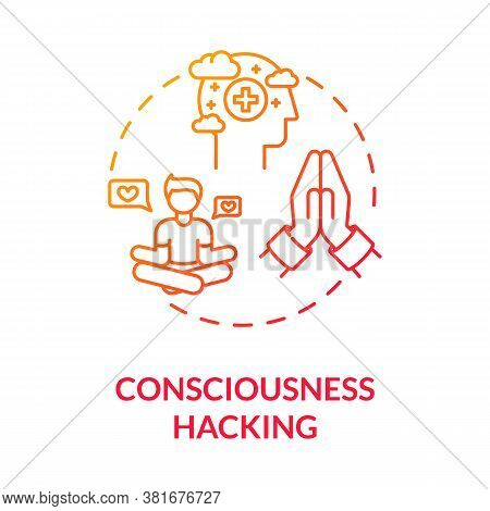 Consciousness Hacking Concept Icon. Biohacking, Spiritual Growth Idea Thin Line Illustration. Medita