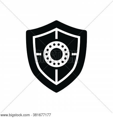 Black Solid Icon For Shield Safeguard Aegis Escutcheon Bulwark Defense Security Protection Conservan