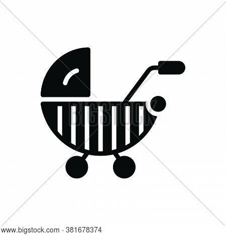 Black Solid Icon For Stroller Straggler Pushchair Buggy Carriage Infant Care Child Baby-sitter Cradl