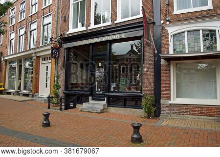 Dokkum, The Netherlands - July 16, 2020: Entrance Of City brewery Bonifatius In The Dutch Town Of